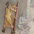 Mujer tejiendo en un telar vertical. Periodo Argárico. Ilustración: Miguel Salvatierra