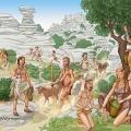 Vida cotidiana. Medioambiente, recolección, caza y pastoreo en el Torcal de Antequera. Neolítico Antiguo. Ilustrado por Miguel Salvatierra
