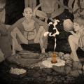 Reunidos al calor del fuego. Paleolítico. Ilustración: Andrés Marín