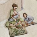 Madre amamantando un bebé mientras desgrana vainas de guisantes. Periodo Ibérico. Ilustración: Miguel Salvatierra