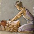 Mujer moliendo cereal en molino barquiforme. Periodo Argárico. Ilustración: Miguel Salvatierra
