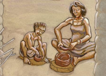Una mujer enseña a un niño a elaborar un objeto de cerámica. Ilustración: Miguel Salvatierra.