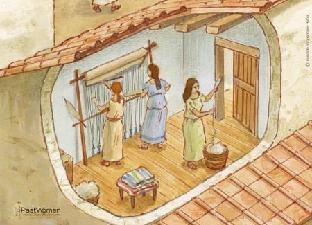 Mujeres en el telar vertical y mujer hilando. Ilustración: Francesc Ràfols