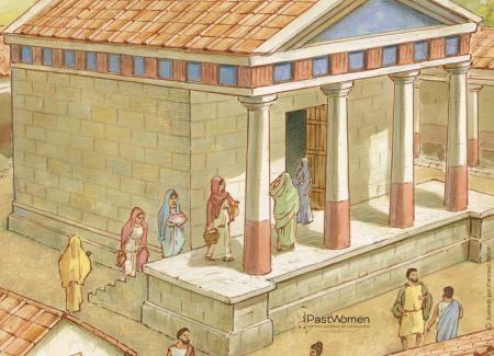 Mujeres acudiendo al templo para realizar sus demandas y ofrendas a los dioses. Ilustración: Francesc Ràfols