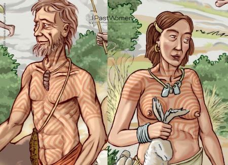 Neolítico Antiguo - Construir la comunidad. Identidad, dibujos corporales y adornos II. Ilustrado por Miguel Salvatierra