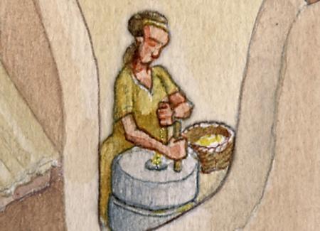 Mujer moliendo cereal en molino rotatorio. Ilustración: Miguel Salvatierra.