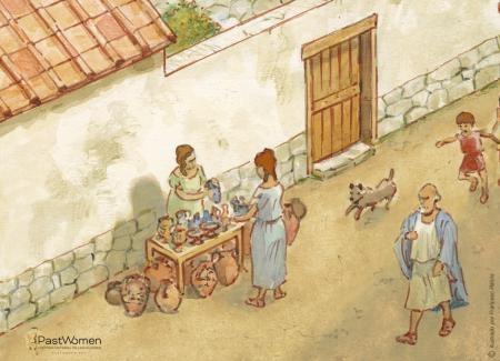 Mujer vendiendo, en puesto ambulante, objetos para el hogar o aseo personal. Ilustración: Francesc Ràfols