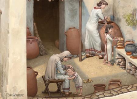 Preparación de pan ácimo en horno Tanur. Ilustrado por ªRU-MOR