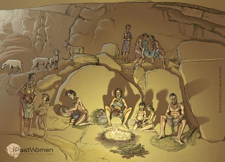 Vida cotidiana. Actividades en el interior de la cueva del Toro, Antequera (Málaga).  Neolítico Antiguo. Ilustrado por Miguel Salvatierra