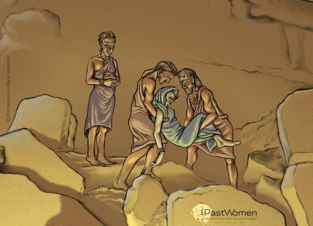 Neolitico Antiguo - Prácticas funerarias en la Cueva del Toro (Antequera). Ilustrado por Miguel Salvatierra
