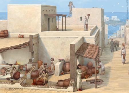Producción cerámica. Actividad productiva desarrollada por las familias en las casas. Ilustrado por ªRU-MOR