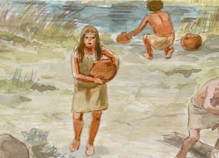 Mujer acarreando agua de un río cercano. Ilustración: Francesc Ràfols