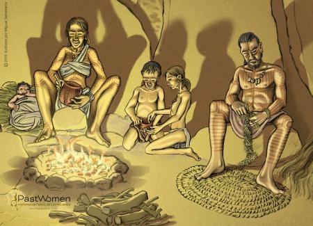 Neolitico antiguo - La producción cerámica a mano. Ilustrado por Miguel Salvatierra