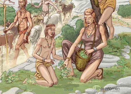Neolítico Antiguo - Recogida de plantas medicinales. Ilustrado por Miguel Salvatierra