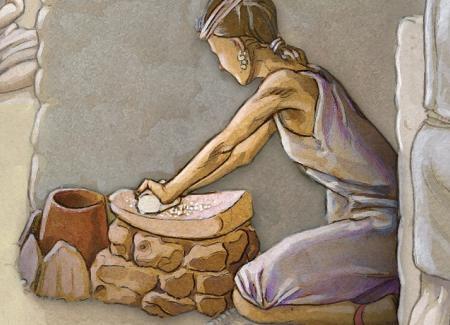 Mujer moliendo cereal para la obtención de harina en un molino barquiforme. Ilustración: Miguel Salvatierra.