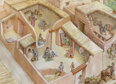 Reconstrucción de viviendas de un oppidum Ibérico. En el interior se realizan numerosas actividades. Ilustración: Miguel Salvatierra.