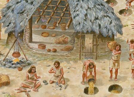 Vida del poblado entorno a la cabaña. El hogar, áreas de trabajo, fosas de almacenamiento y vertedero. Ilustración: Francesc Ràfols