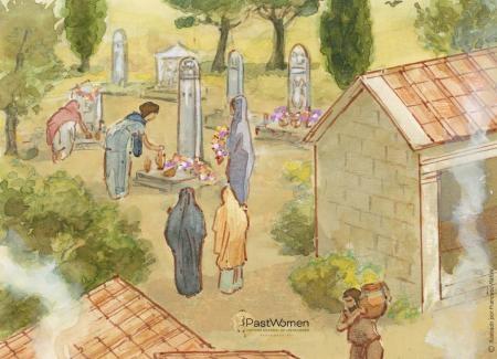 Mujeres visitando el cementerio y arreglando las tumbas de los difuntos con flores, guirnaldas y esencias. Ilustración: Francesc Ràfols