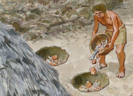 Hombre vertiendo desechos en una fosa vertedero. Después se cubre con tierra para evitar olores y mantener unas condiciones de higiene en el poblado. Ilustración: Francesc Ràfols