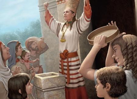 Sacerdotisa fenicia a la puerta de un templo oficiando la ceremonia religiosa. Ilustrado por ªRU-MOR