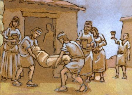 Enterramiento. Traslado del cadáver al interior de la casa donde será enterrado bajo el suelo. Ilustración: Miguel Salvatierra.