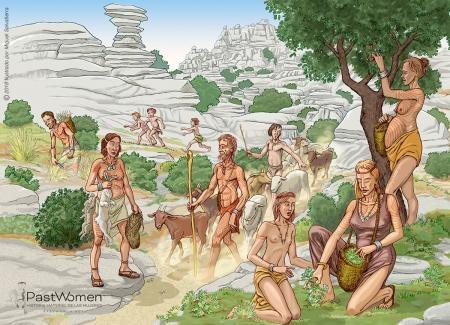 Neolítico Antiguo - Procurar alimento. Ilustrado por Miguel Salvatierra