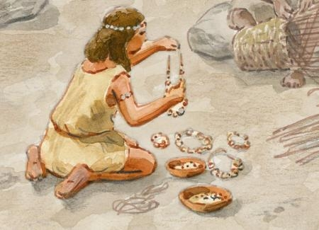 Mujer elaborando joyas y adornos de variscita. Ilustración: Francesc Ràfols