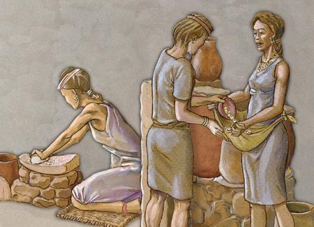 Mujeres cogiendo grano de los recipientes de almacenaje. Ilustración: Miguel Salvatierra.