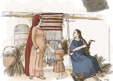 Socialización de las actividades textiles. Ilustración: Esperanza Martín e Iñaki Diéguez