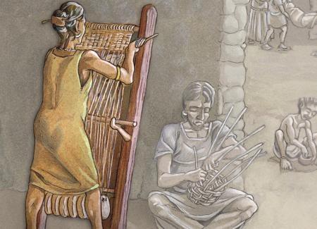 Mujer tejiendo en telar vertical. Ilustración: Miguel Salvatierra